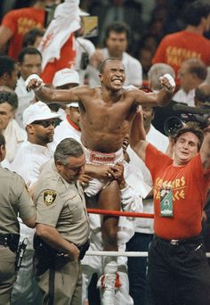 Sugar Ray Leonard looks very happy after his victory over Marvin Hagler