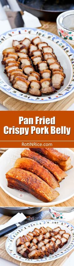 Make this quick and easy Pan Fried Crispy Pork Belly in 40 minutes. Only 4 ingredients and just as tasty as the oven roasted version. | RotiNRice.com #chinesefoodrecipes