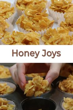 If you love Rice Krispies Treats then you will love these honey joys. They are a popular snack in Australian. How can you not like honey, butter, and sugar coating corn flakes? They are super easy to make and so delicious. Low Fat Snacks, Easy Snacks, Healthy Snacks, Easy Meals, Sweet Recipes, Snack Recipes, Dessert Recipes, Cooking Recipes, Sweet Desserts
