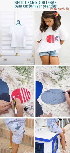 Decorar camisetas, diy con rodilleras, knee patches #diy #kneepatches #decorarcamisetas #telaadhesiva #customizarcamiseta