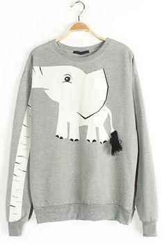 Cute Elephant Graphic Sweatshirt OASAP.com