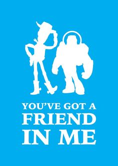 Items similar to Printable Home Decor Wall Art You've Got A Friend In Me Disney Pixar Woody Buzz Lightyear Poster and size on Etsy Toy Story Theme, Toy Story Birthday, Toy Story Party, Cumple Toy Story, Festa Toy Story, Disney Toys, Disney Pixar, Cartoon Silhouette, Silhouette Cameo