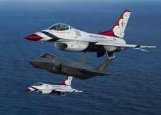 Image Fighter Airplane Airplane F-16 Fighting Falcon American F-35A Flight Three 3 Aviation Fighter aircraft US