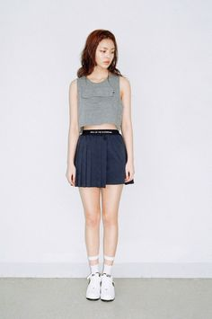 We Are Selecters · NAVY UNBALANCE PLEATS SKIRT by O!Oi