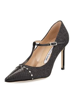 Vippina Combo T-Strap Pump, Black/Gray by Manolo Blahnik at Neiman Marcus.