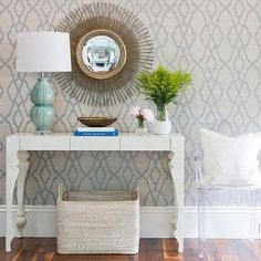 Grey and Blue Trellis Wallpaper