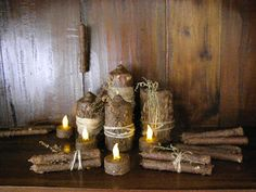 primitive ole frugal mumma: crafts  Never thought about added oats to the mixture to roll the candles in.