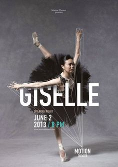 Giselle designed by Caroline Grohs (2 of 3) as part of the Motion Theater Ballet Series. This is a seamless integration of image and typography. The concept of the lines tying it all together is remarkable and adds another dimension. The hierarchy of text is flawless making this truly great design.