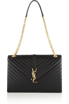Saint Laurent 'Cassandre' Large Quilted Leather Shoulder Bag With Brand's Iconic Logo.
