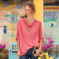 """MADISON SILK COWL-NECK TUNIC�--�The neckline du jour, eternally flattering in oh-so-drapeable silk. Collared pullover with long roll tab sleeves. Dry clean. Imported. Exclusive. Sizes XS (2), S (4 to 6), M (8 to 10), L (12 to 14), XL (16). Approx, 29-1/2""""L. This style is intentionally oversized. If you would like a closer fit please order down one size."""