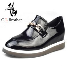 G.L.Brother Oxfords Mulheres Sapatos Spring Patent Leather Increased Oxfords Square Toe Creepers 2017 Slip On Shoes For Women-in Women's Flats from Shoes on Aliexpress.com | Alibaba Group