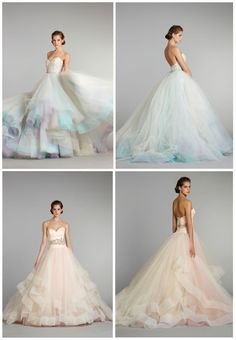 2 beautiful Lazaro wedding dresses of fall 2012 I love the color at the bottome of these dresses! I think I might have to think about doing this to my wedding dress... when I pick one out