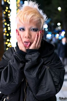 Chamii in Harajuku rockin it out hard with a tongue piercing & blue eye Makeup