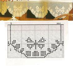 Barrados com gráficos em crochê filé com motivos de belas borboletas.