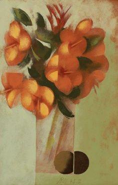 Carlos Scliar Vaso com hibisco e frutas - vese 1972 - 56 x 37