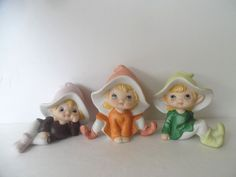 Three Pixie Elves #5213 Homco Porcelain Figurines