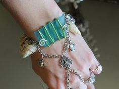 """Blue Sea glass """"Slave Bracelet"""" Ring wire wrapped accented with Sea Shells and Sea Turtles.  Nautical, Oceanic Bracelet Ring."""