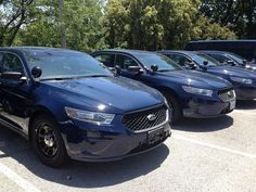 The first batch of the cars we're testing to replace the Crown Vic is in: Ford Police Interceptors in KCPD navy.