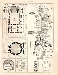 Ancient Rome Map and Floor Plans Roman Forum by CarambasVintage
