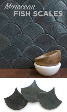 Moroccan Fish Scales are a fresh and unique tile shape that always steal the show! This shape was recently used in Starbucks for one of their Starbucks Reserve locations. Dark green tile with wood and marble accents. We love it! Great for shower walls and kitchen backsplashes!