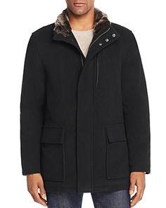 Faux-fur lining at collar. Faux Fur Collar Coat, Jacket Buttons, Men Looks, Fur Trim, Cole Haan, Mens Fashion, Parka Men, Jackets, Clothes