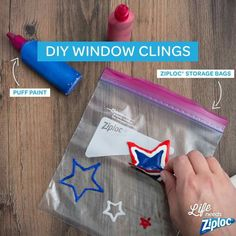 Diy window clings Use puff paint to make design let it dry completely peel and stick. Oh the possibilities!  You could even trace a picture
