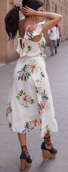 Floral midi + wedges.