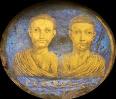 Roman gold glass portrait of two young men, 4th century A.D. 4.1 cm diameter. Museo archeologico nazionale, Bologna