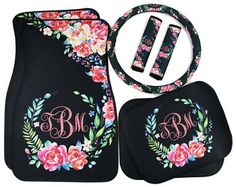 Items similar to Classy Black Floral Car Accessories Car Mats Floor Mats Steering Wheel Cover Seat Belt Covers Personalized Custom Monogram Carmats Car Decor on Etsy Custom Car Accessories, Preppy Car Accessories, Car Accessories For Women, Kia Soul Accessories, Vehicle Accessories, Interior Accessories, Car Mats, Car Floor Mats, Future Car
