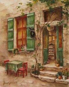 doors and windows painting Beautiful Paintings, Love Art, Art Pictures, Painting & Drawing, Watercolor Paintings, Art Drawings, Decoupage, Street Art, Beautiful Pictures