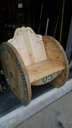 Chair made from a spool! Check out our page on Facebook! (Turned Out Furniture )