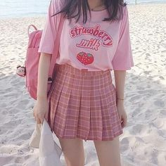 "Pink/white strawberry printing t-shirt SE10339 Coupon code ""cutekawaii"" for 10% off"