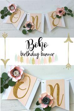 Boho First Birthday, Boho Banner, Paper Flower, First Birthday girl, Spring birthday, Spring paper flowers, Bohemian banner, One high chair banner, Boho high chair banner, boho first birthday decor