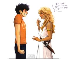 """""""Circe screamed. She and her attendants ran from the room, chased by pirates. Annabeth sheathed her knife and glared at me. """"Thanks...,"""" I faltered.""""I'm really sorry-"""" Before I could figure out how to apologize for being such an idiot, she tackled me with a hug, then pulled away just as quickly.""""I'm glad you're not a guinea pig."""" """"Me, too."""" I hoped my face wasn't as red as it felt."""" -Rick Riordan, The Sea of Monsters"""