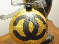 GLAMOROUS French Inspired Extra Large Hand Painted Gold Sequin Christmas Tree Ornament Decor by TresSuzette on Etsy