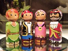 Peter Pan Jake and the Neverland Pirates Inspired Set of 4 Wooden Peg Figures Hand Painted Peg People Figurines