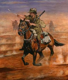 Oil painting by military equestrian artist Ron Marshall, of an Australian Light Horseman during the Charge of Beersheba.