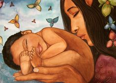 Claudia Tremblay - Mother and Baby Illustration Main, Illustration Art Dessin, Illustrations, Claudia Tremblay, You Are My Moon, Birth Art, Wow Art, Mothers Love, Mother And Child
