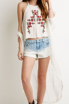 Embroidered Lace Edge Crop Vest at Romwe - Trendslove