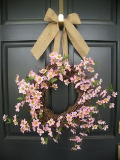 """14"""" grapevine wreath w/faux pink apple blossom and 2.5"""" wide burlap ribbon"""