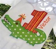 Boys Applique Alligator Birthday Shirt Or Onesie Alligator Birthday Parties, October Birthday Parties, Alligator Party, Birthday Party Themes, Birthday Ideas, 1st Birthday Shirts, Baby Boy 1st Birthday, 1st Boy Birthday, 1st Birthdays