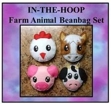 In The Hoop Farm Animal Beanbag Embroidery Machine Design Set