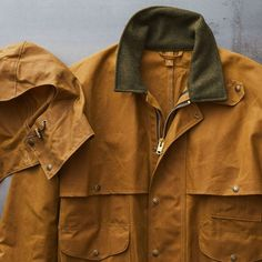 A rain-repellent coat with a double layer of Tin Cloth on the yoke and arms, and a wool-lined snap tab collar. Field Jackets, Packers, Cute Guys, Ted, Hunting, Raincoat, Boards, Military, Crown