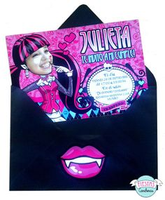 Invitacion personalizada de Monster High Monster High Party, Lunch Box, Monsters, Paper Plates, Celebration, Invitations, Tags, Fiestas, Monster Crafts