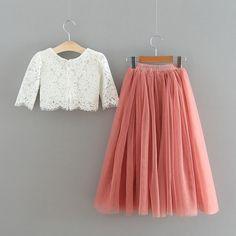 The Brittney Crop Skirt Set Simple Frock Design, Girls Frock Design, Kids Frocks Design, Toddler Flower Girl Dresses, Baby Girl Skirts, Dresses Kids Girl, Stylish Dresses For Girls, Frocks For Girls, Simple Frocks