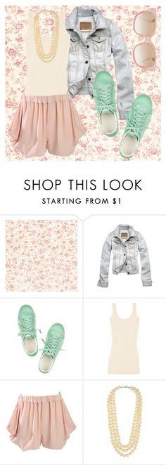 Welcome to Spring in January! by fapable on Polyvore featuring STELLA McCARTNEY, Hollister Co., John Rocha, Sergio Rossi, Kenneth Jay Lane, Emmanuelle Khanh, jean jackets, pearl necklaces, pastels and harem shorts