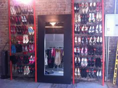 Thrift store shoe display (DIY) ummm can I have this please??