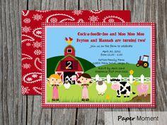 Farm Birthday Invitations Farm Barnyard Yeehaw by PaperMoment, $15.00