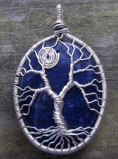 Wire Wrapped Lapis Tree of Life Necklace/Pendant