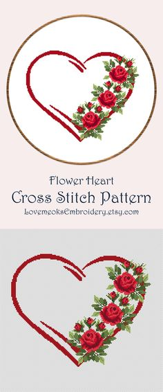 Design DMC colors: 150 stitches wide x 121 stitches high Aida x x cm) Aida x x cm) Aida x x cm) Dimensions of the pattern do not include the margins. You should add at least cm) on every side to draw up the embroidery. Monogram Cross Stitch, Cross Stitch Heart, Simple Cross Stitch, Cross Stitch Flowers, Cross Heart, Pattern Floral, Embroidery Flowers Pattern, Embroidery Hoop Art, Cross Stitch Embroidery